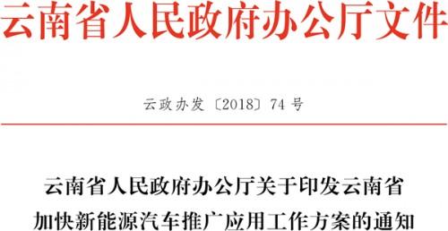 关于印发云南省加快新能源汽车推广应用工作方案的通知