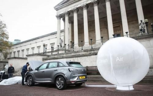 现代氢燃料SUV伦敦街头演示净化空气 过滤掉99.9%污染物