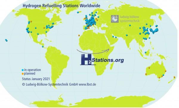 107座!2020年全球新建加氢站创历史记录