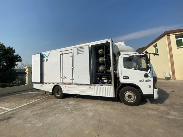 舟山市首辆氢能冷链车亮相六横 最长续航450公里